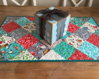 Christmas decor table runner quilted table pad SALE, made in Canada, #172