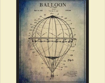 Hot Air Balloon Patent Print, Wall Art, Patent Blueprint Art, Balloon Art Print, Vintager Balloon Aircaft Art, PP29