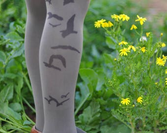 Tights -Birds Tights, gift for her,Valentines,Printed tights -Printed Clothes-Available in White,Beige.Weddings