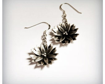 Waterlily Drop Earrings - Handcrafted - Sterling Silver