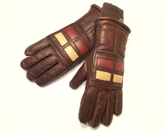 Vintage 70s Leather Gloves 1970s Ski Gloves Brown Rust Cream Warm Winter Women's Retro Skiwear Hipster Skiing Party NOS Deadstock Mint KOMBI