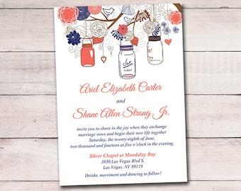 Printable Wedding Invitation Template - Mason Jar Invitation Template - Dark Coral Navy DIY Wedding Template - Rustic Wedding Invitation