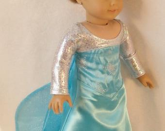18 Inch Doll Elsa Dress Snowflake Front