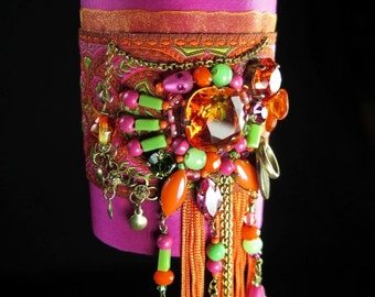Textile cuff bracelet, romantic gypsy boho, silk and ribbon embroidered with crystal and glass, bright pink orange green, hand-made
