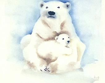 Polar bears original watercolor painting, 8 X 10