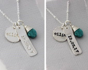 Baby shower gift, Birthstone necklace, New mom gift, Name tag necklace, Birthdate jewelry, Silver bar, Gift for women
