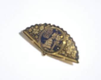 Vintage Fan Damascene Brooch  - Black and Gold Picture Brooch Fashion Jewelry Brooch 1970s