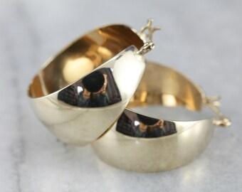 Yellow Gold Hoop Earrings, Medium Hoops, Classic Gold Earrings YEN9V5WJ-C