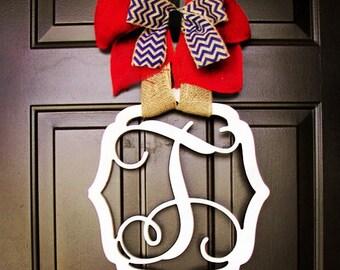 Custom UNFINISHED letter monogram in vintage frame/wooden/door hanger/front door decor/4th of July/patriotic
