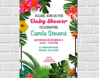 Tropical Baby Shower Invitation,tropical baby shower invitation,tropical invite, luau, hawaiian, tropical, colorful, bright invite, birthday