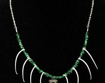 Real Boa Constrictor Rib Bones Malachite Stone And Planchette Charm On A Silver Chain Taxidermy Necklace