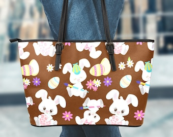 Easter Bunny Brown Leather Bag/Tote