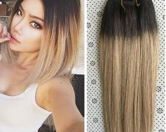 Full Head Dip dye Clip in Human Hair extensions Ombre 6 Pcs Dark brown to ash blonde