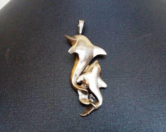 Pendants etsy vintage handmade 925 silver dolphins pendants aloadofball Choice Image