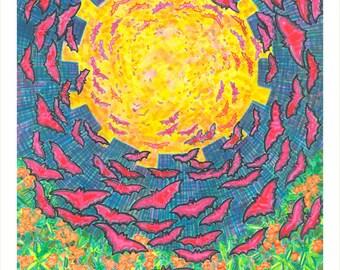 Art Print, Giclee, Bats, Transition, Flowers, Light, Dusk, Dawn, Color, Unique, Vibrant, Energy, Mystical, Spiritual, Paradise, Nature, Life