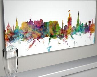 Edinburgh Skyline Canvas, Edinburgh Scotland Cityscape Canvas Art Print (976)