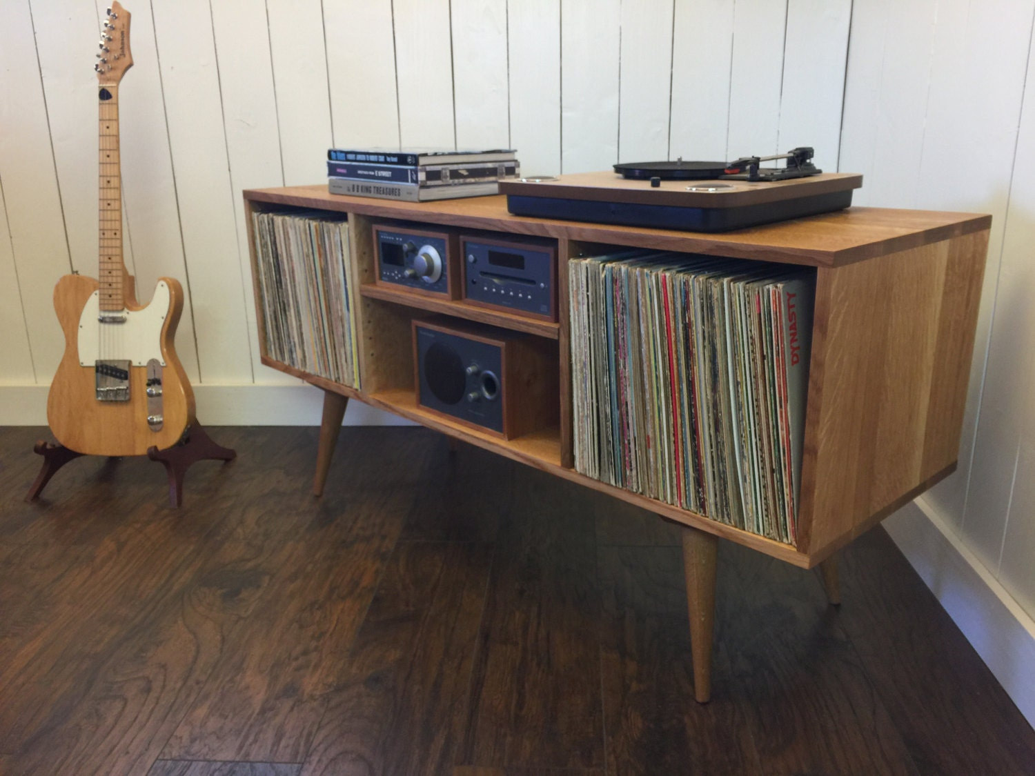 Mid Century Modern Turntable Stand Record Player Cabinet