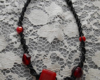 Red and Black Hemp Knot Necklace Choker ~ONE OF A KIND~ handmade