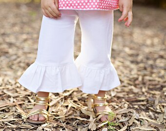 Ruffle pant girl- white ruffle pant- cotton - white pants- girls spring outfit- ruffle bottom girl- toddler bottoms- easter outfit