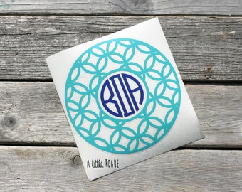 Monogram Vinyl Decal | Personalized Monogram | Car Decal | Framed Monogram