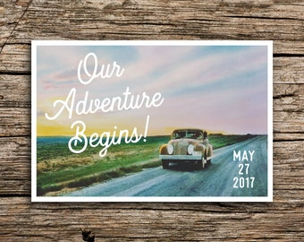 On the Road Save the Date Postcards // Vintage Adventure Save the Dates Wedding Invitation Antique Car Country We Eloped Great Plains
