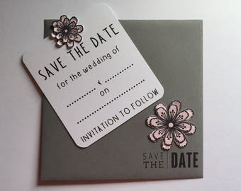 50 Handmade Save the Date Magnetic Cards and Matching Envelopes