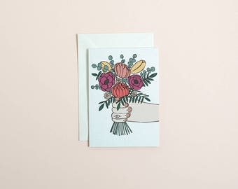 Bunch of flowers greetings card // mothers day card // thank you card // love you a bunch card // floral greetings card // cute card