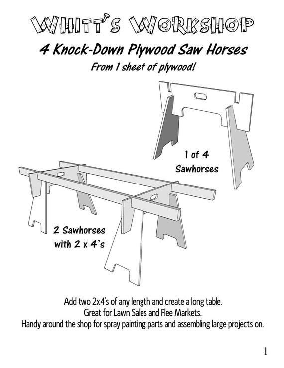4 knock down plywood saw horses from 1 sheet of plywood wood 4 knock down plywood saw horses from 1 sheet of plywood wood plan pdf file blueprint from whittsworkshop on etsy studio malvernweather Choice Image