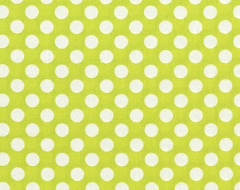 Michael Miller Fabric Lime Green Ta Dot Fabric, White Polka Dots 1 yard