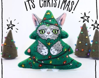 Its Christmas Cat - Illustrated cat doll  - Soft Minky plush stuffed animal toy- grey cat dressed as a festive christmas tree