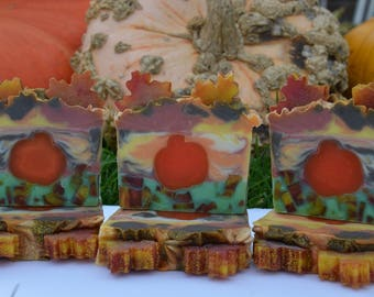Red Maple Leaf Cold Process Soap with Melt &Pour Embeds
