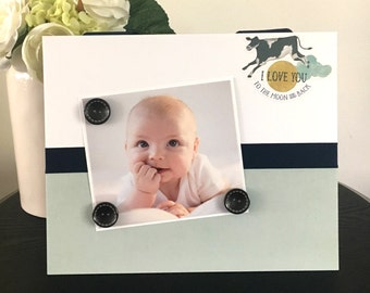 """I love You to the Moon Baby shower room décor new mother boy grandmother gift holds 5"""" x 7"""" photo 9"""" x 11"""" size magnetic picture frame"""