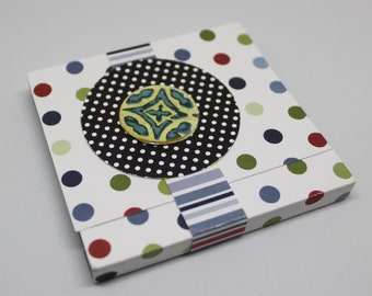 Sticky Note Pad with Cover - Band Closure - Post-It Notes - Blues with Dots - Planner Accessory