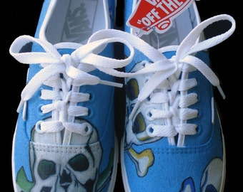 Hand Painted Vans - Skulls and Crossbones