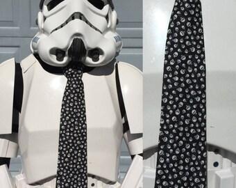Skulls Novelty Necktie - Tie Skull Halloween Holiday All Hallow's Eve White