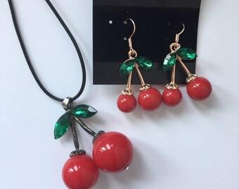 Cherry Necklace, Cherry Jewelry,  dangle cherry earrings, double cherry necklace, double cherry earrings, cherry earrings