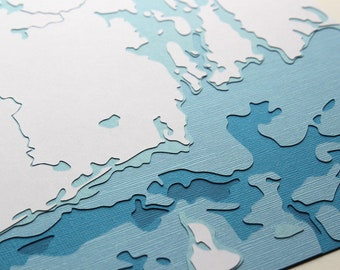 "Rhode Island Coastline - 8 x 10"" layered papercut art"
