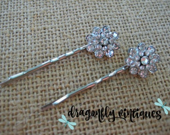 Hair Pins, Rhinestones, Silver Tone, Wedding, Bridesmaids,Gift for Her    {106}