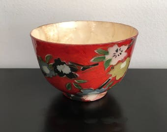 Vintage, Japanese Paper Mache Bowl,Japanese Bowl, Oriental Bowl,Asian Interiors,Red Bowl,Oriental Decor,Papier Mache Bowl, Bowl,Japanese,Red