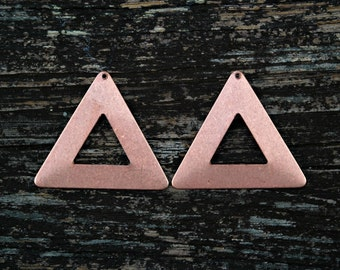 Rose Gold Triangle Pendants, Brass Triangles, Geometric Pendants, 2 pcs