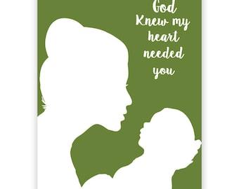 Nouvelle maman Fine Art Print - premier jour de la fête des mères, l'amour de la fête des mères, maman et bébé Silhouette