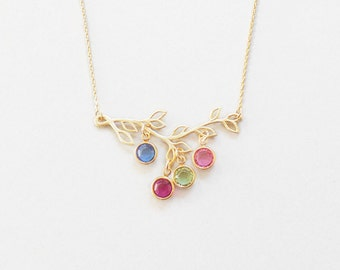 Family Tree Birthstone  Necklace Personalized Gold Filled Chain Family Tree  Necklace New mom Gift Christmas gift child birthstone