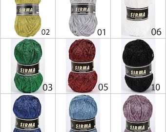 Metallic yarn, knitting, crochet, lurex, glitter, ribbon, shine, lame, sparkle yarn, finger knitting yarn, ribbon yarn, silver yarn