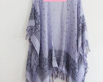 Kimono with Paisley Print in Blue
