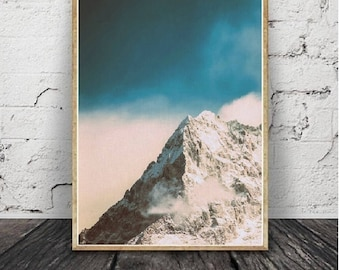 Black and White Mountain Print, Black and White Photography Moody Landscape Moutain Fog Print, Black and White Wall Art, Modern Scandinavian