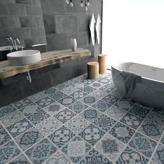 Marvelous Vintage Blue Grey Tile Decal Floor Tile Decal Bathroom