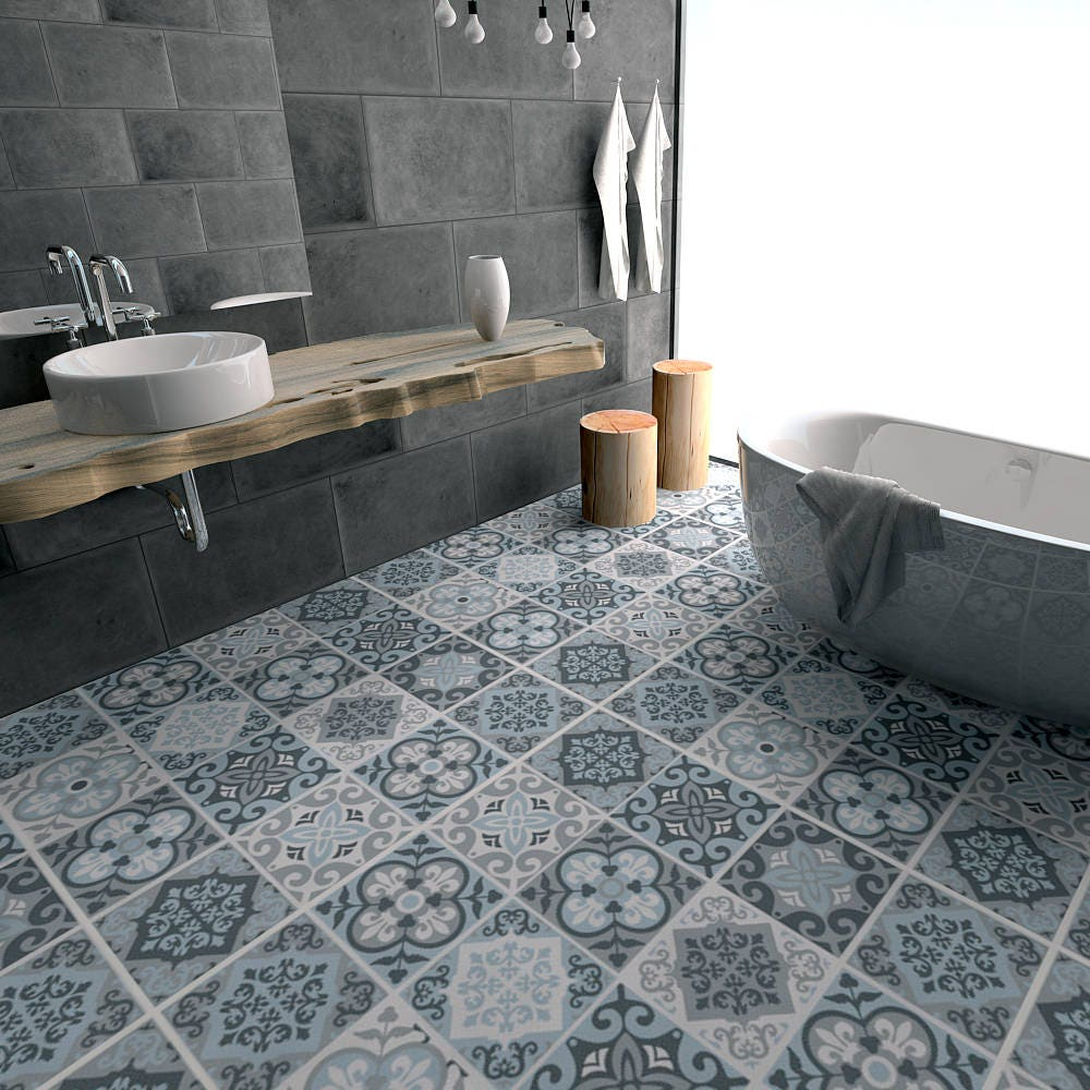 Vintage blue grey tile decal floor tile decal bathroom zoom dailygadgetfo Image collections