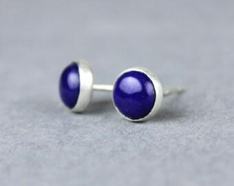 Lapis Lazuli Earrings, Silver Studs, Sterling Silver and Lapis Post Earrings, Bezel Set Earrings, Satin Finish