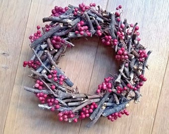 Dried Pink Peppers And Small Branches Wreath - Fall Deacoration - Year Round Decoration