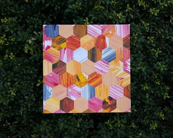 Hexagon Mosaic Art on Canvas Panel; Oranges and Reds with a Touch of Grey; OOAK